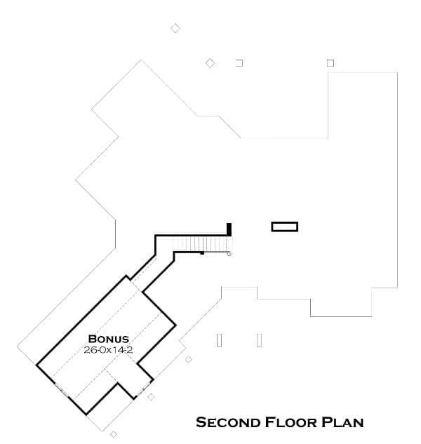 The second level floor plan of the home shows the bonus room located above the garage area connected through the stairs from the foyer.