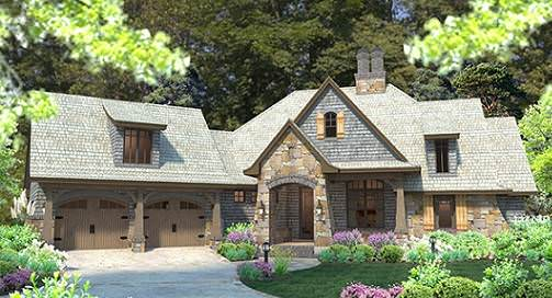 This charming view of the front of the house frames the whole structure in a warm embrace of lush greenery from the tall trees behind the house to the lush landscaping applied to it adorned with a few splashes of color from shrubs. Source: TheHouseDesigners.com