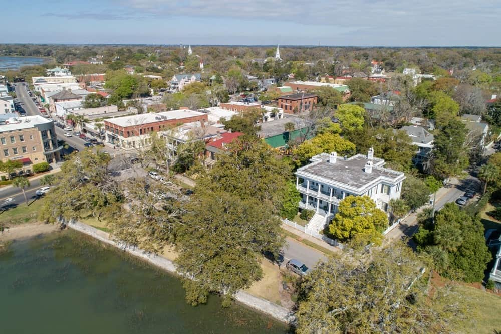 An aerial shot of the lovely home from the side of the river. Images courtesy of Toptenrealestatedeals.com.
