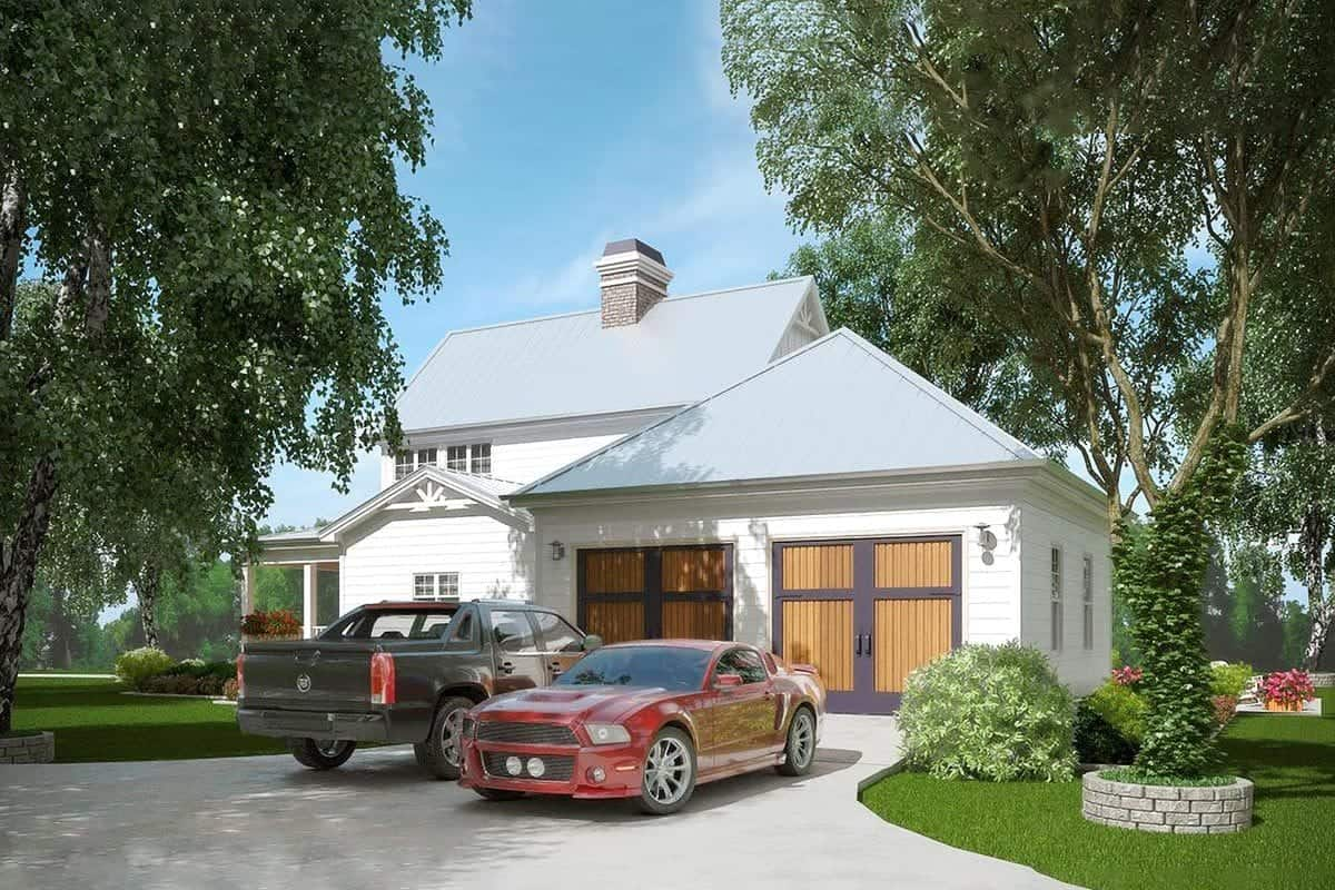 An angled view of the side exterior shows the spacious garage that can accommodate two cars.