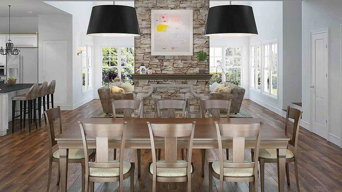 The dining area is situated behind the family room. The stone brick pillar that is now mounted with artwork from this view serves as their divider.