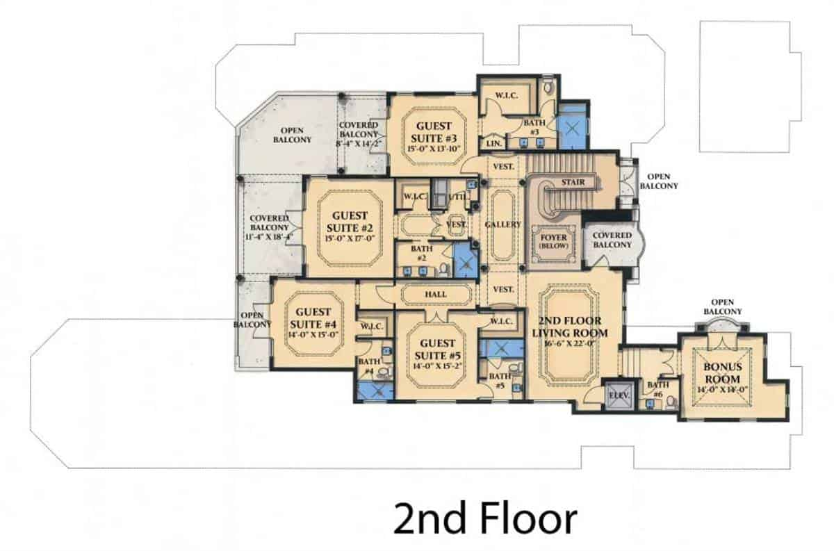 This is the second level floor plan that starts from the grand staircase of the foyer to the various rooms of the second floor where most have an access to the balconies as well as a large living room at the second floor.