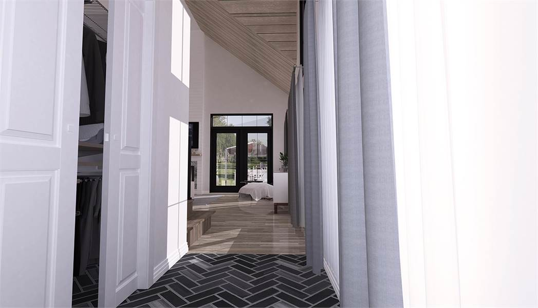 This is a view from the first floor hallway looking at the foyer that has wide double doors dominated by large glass panels that is match by the transom window. This is placed beside the wall-mounted TV and fireplace.