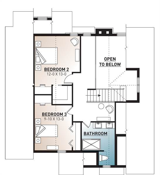The second level floor plan has a couple of large bedrooms, a large bathroom and the large open balcony that takes up about a quarter of the second level.