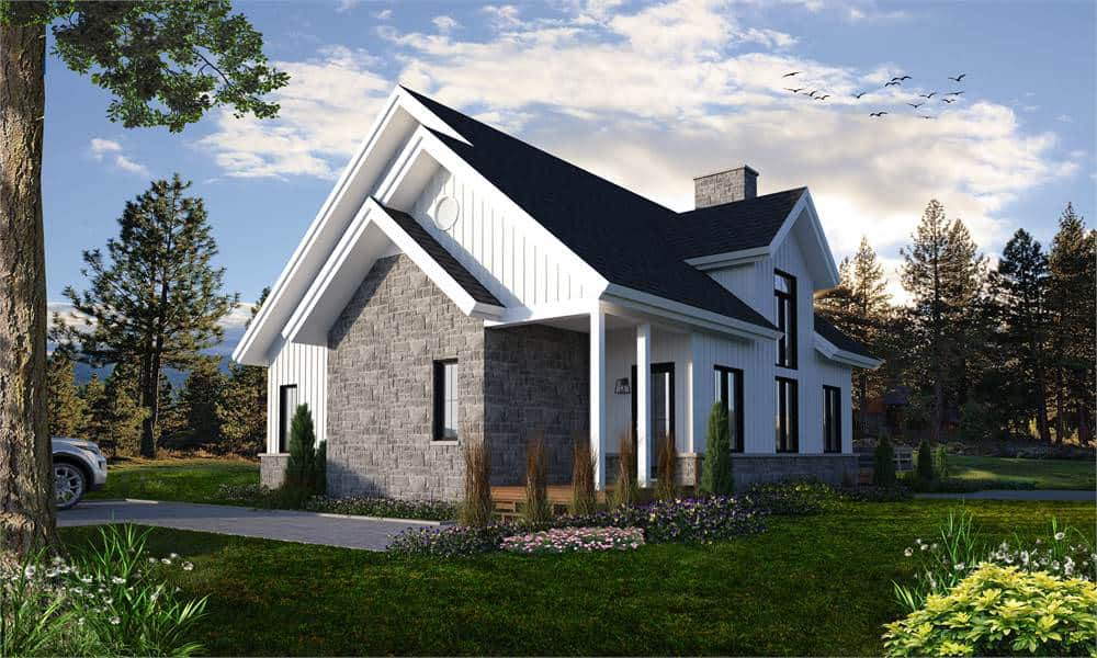 The front view of the house flaunts of its clean and gorgeous design of three A-frame roofs paired with a gray stone wall leading everyone to the main that has a large glass panel.