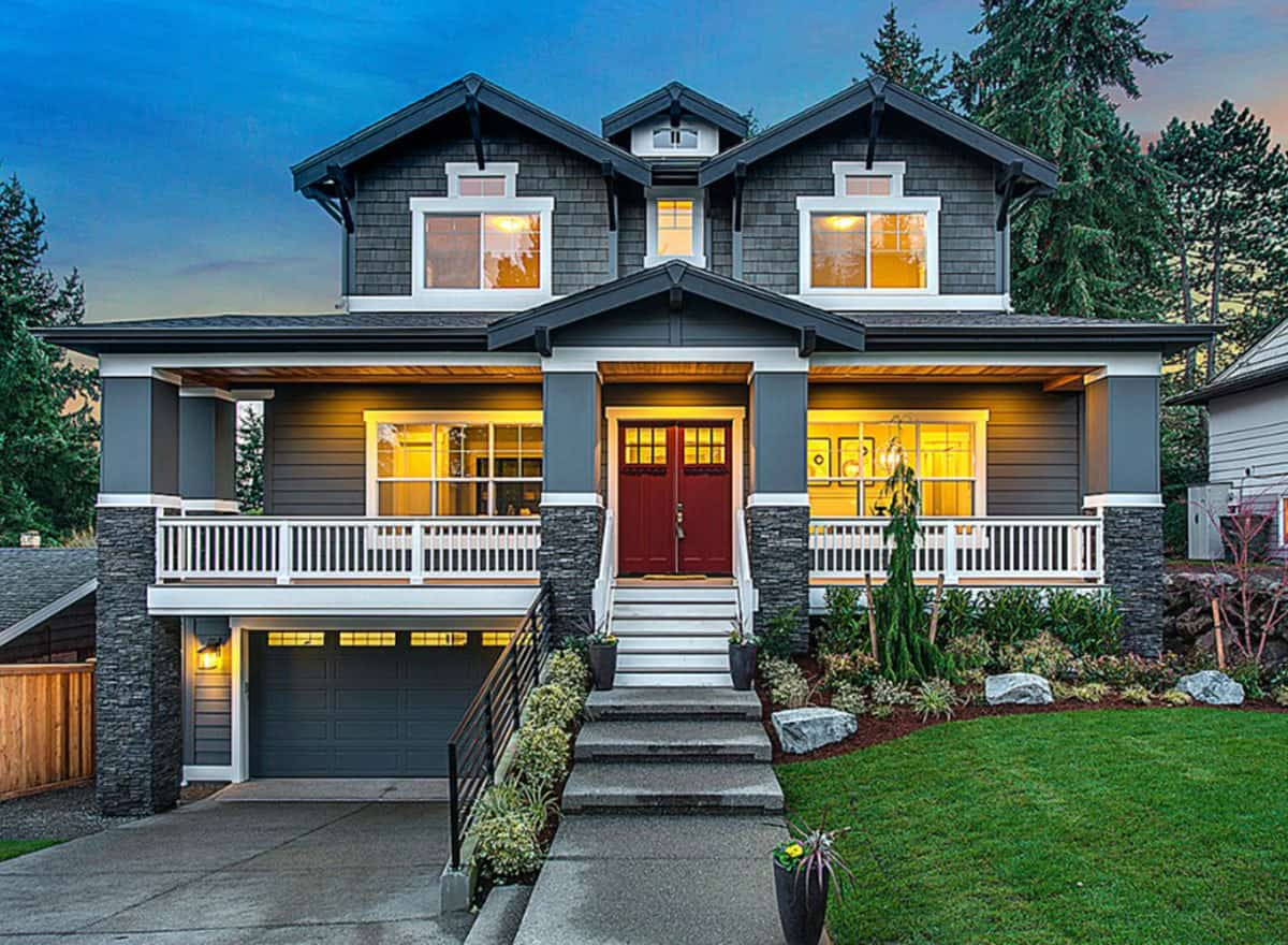 A beautiful 5-bedroom, two-story craftsman style house.