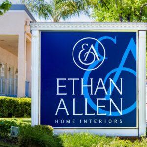 Ethan Allen Home Interiors signage in Pasadena.