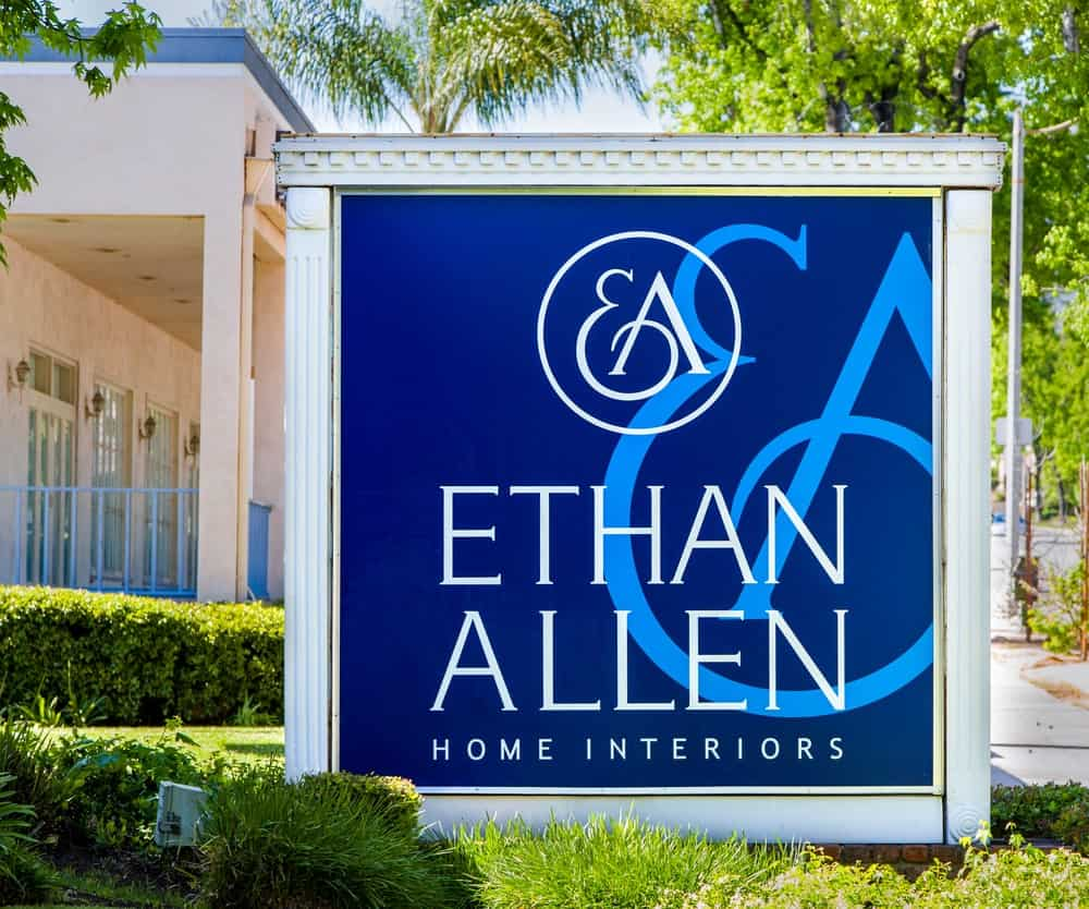 Ethan Allen Home Interiors signage in Pasadena.