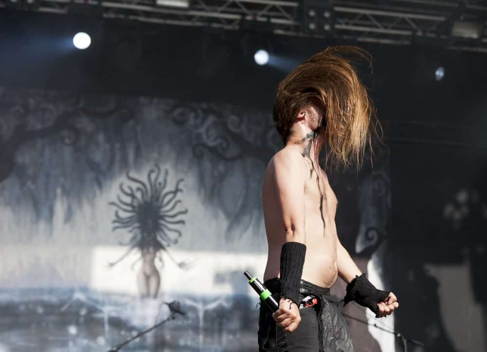 Finnish folk metal band Finntroll performing live on stage in Helsinki, Finland.