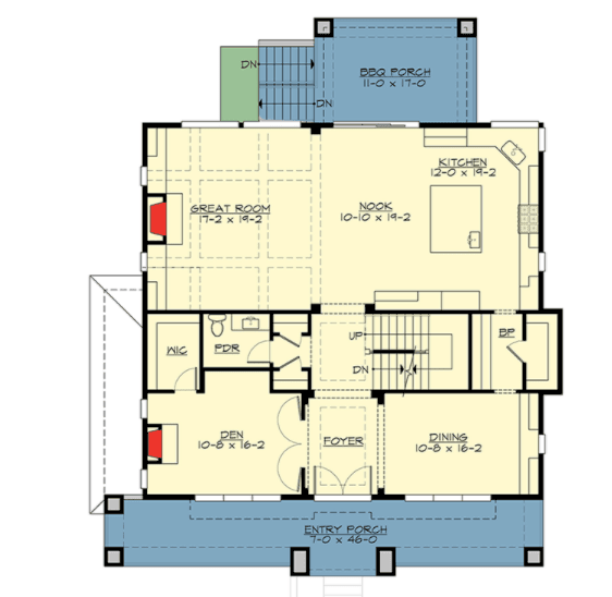 Main level floor plan of a 2-story Craftsman cottage with a spacious great room and a front porch spanning the entire length of the home front.