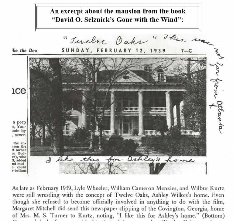 Here's an excerpt about the mansion from the 'Gone with the Wind' book by David O. Selznick. Images courtesy of Toptenrealestatedeals.com.