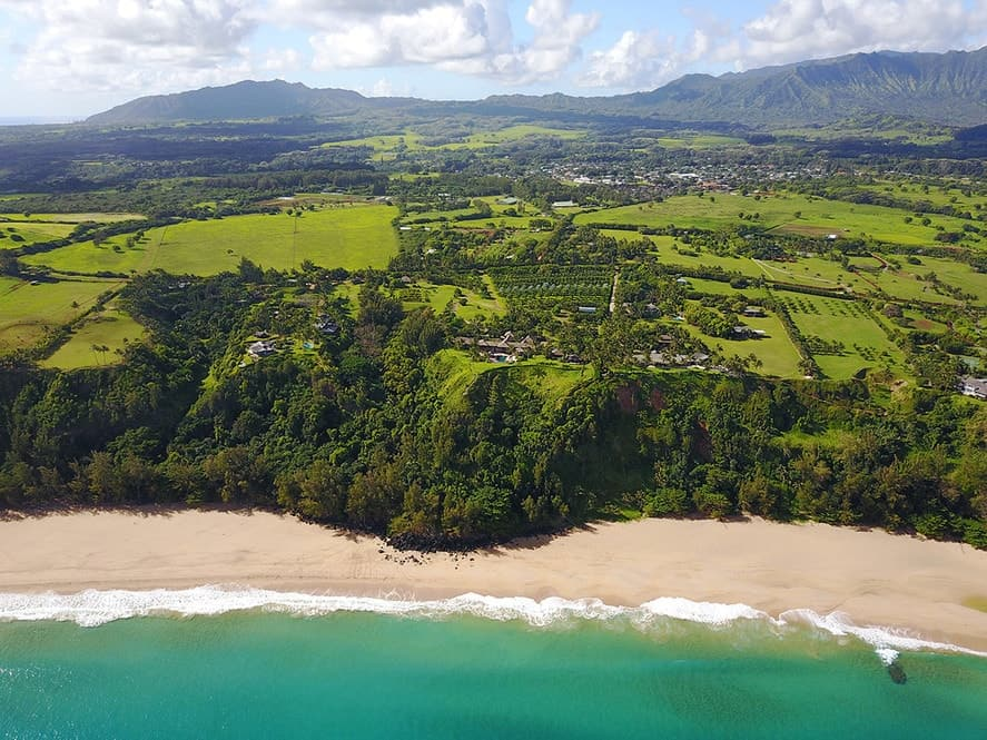 This is an aerial shot of the estate from the vantage point of the ocean that features the isolation of the luxurious estate surrounded by farmland and the ocean. Images courtesy of Toptenrealestatedeals.com.