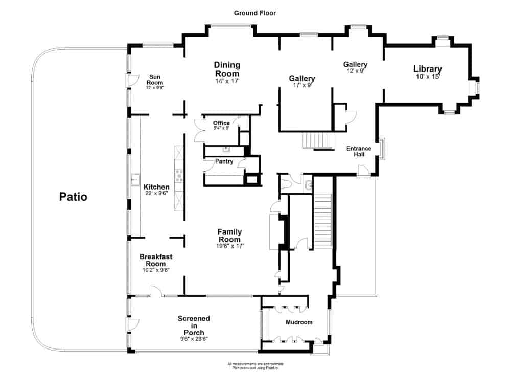 Ground floor floor plan of the house. Images courtesy of Toptenrealestatedeals.com.