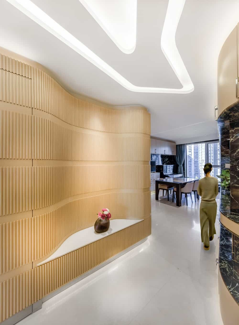 Corridor in the Home Space with Two Kids designed by Atelier Alter.