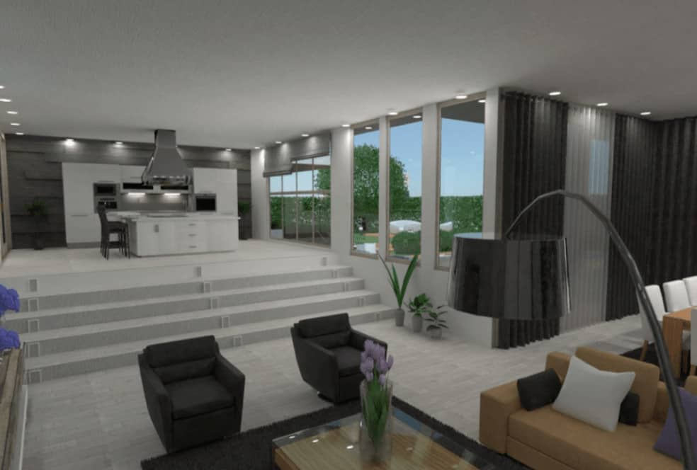 Open concept house interior