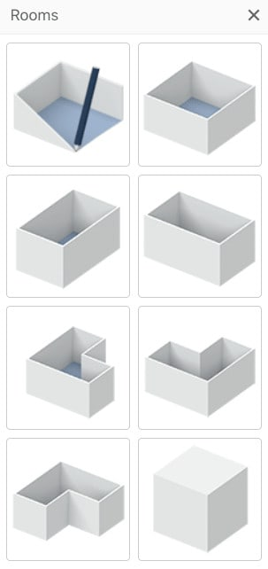 Template room designs and shapes