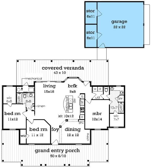 Single-story house floor plan with an optional garage.