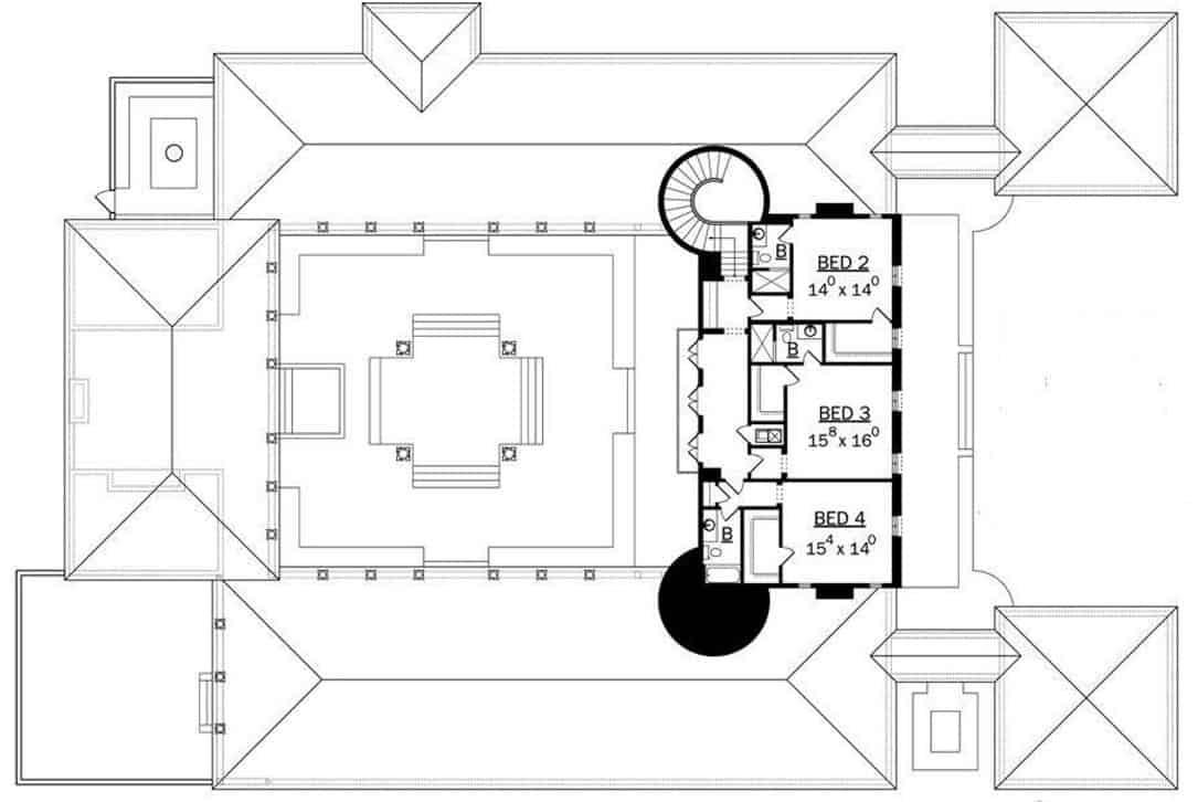 5 Bedroom Italianate Mansion With Courtyard Pool Floor Plan