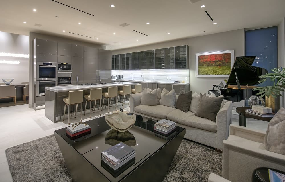 There is a small living room beside the kitchen with a gray sofa paired with a square wooden coffee table on a gray area rug. From this vantage you can clearly see the modern cabinetry of the kitchen surrounding the island. Images courtesy of Toptenrealestatedeals.com.