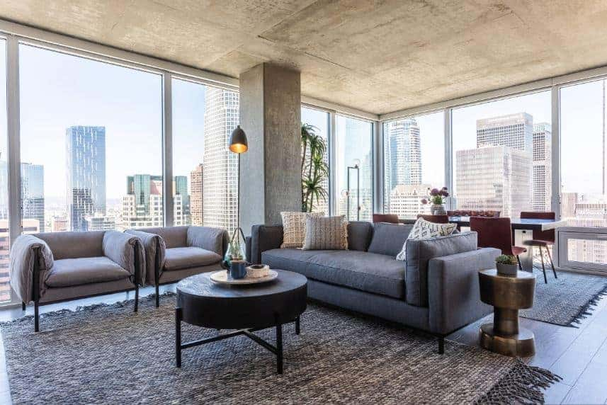 The gray concrete column is surrounded by glass windows that bring in natural lights to the concrete gray ceiling as well as provide a nice skyline scenery background for the gray sofa cushioned sofa and the round coffee table.