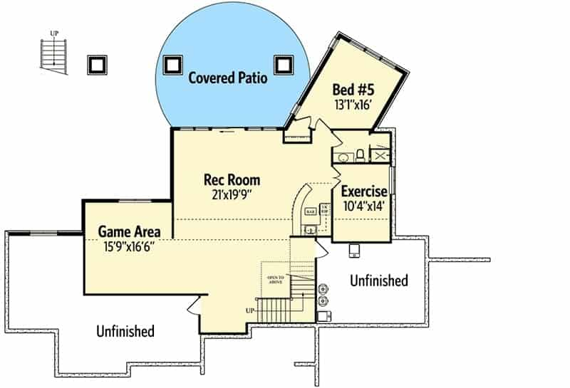 Lower level floor plan with a fifth bedroom, exercise room, record room and a game area.