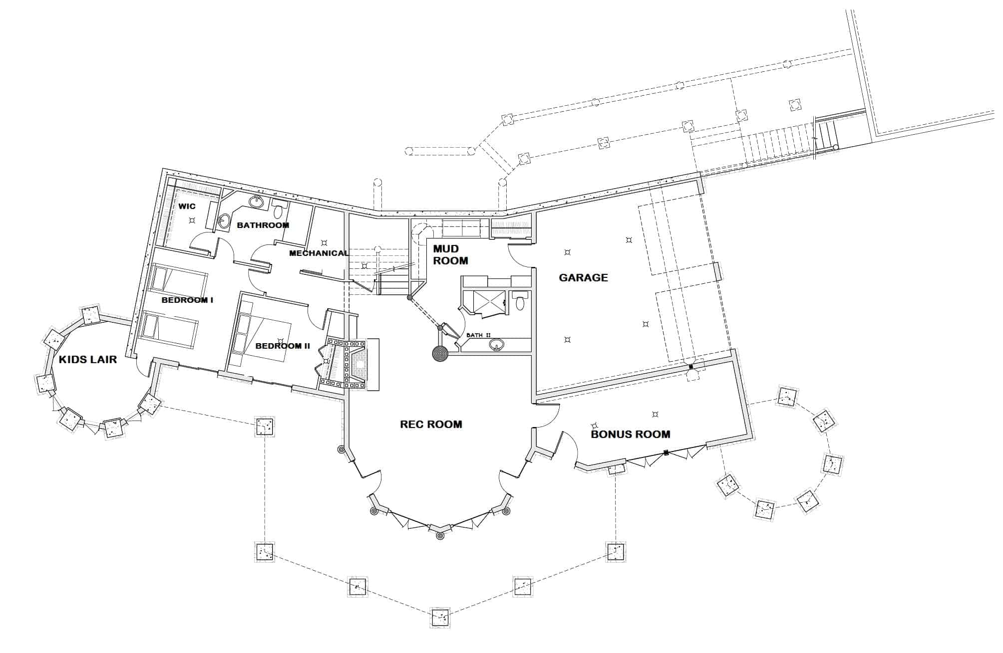 Lower level floor plan with a 2-car garage, a record room, two bedrooms where one has a kids' lair, and a bonus room.