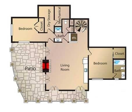 Lower level floor plan accessed through a spiral staircase or a residential elevator leading to a luxury living room, bedrooms, and recreation area.