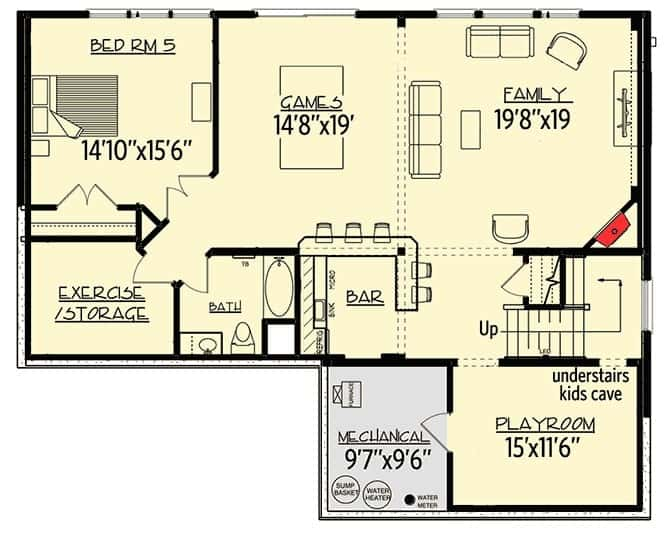 Lower level floor plan of a 2-story Storybook house with enough space for an additional bedroom, a family room, recreation area, and storage area.