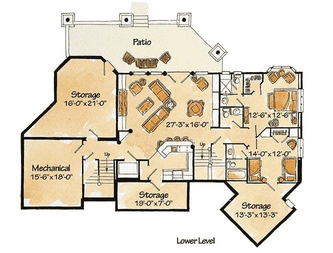 Lower level floor plan with two more bedrooms, and a large rec room with wet bar.