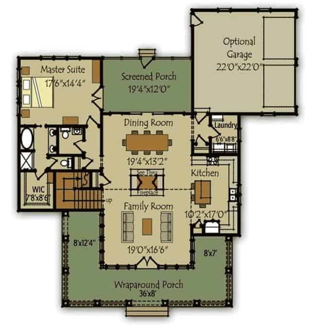 Main level floor plan of a two-story farmhouse with an open layout and a primary suite with direct access to the screened porch.