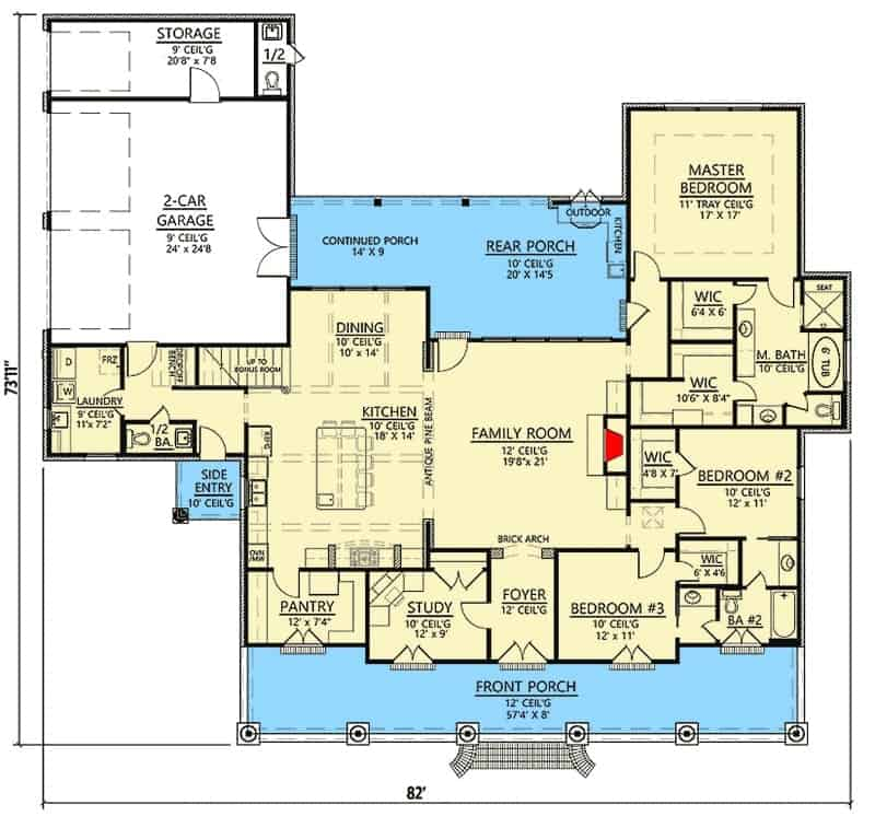 Main level floor plan of a single-story french country home with a secluded master suite, front and rear porches, and a 2-car garage with a half bath that opens from the outdoors.