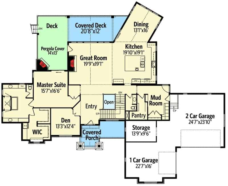 Main level floor plan of a two-story traditional home with a covered deck and porch, 3-car garage and a primary suite.