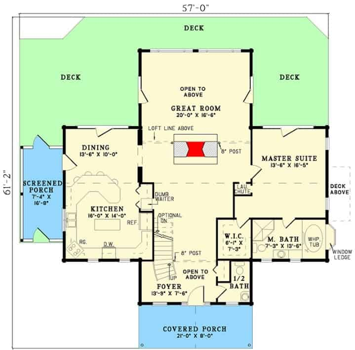The main level floor plan of a 2-story log house with plenty of outdoor areas, a spacious foyer, a great room that's open to the above area for optional skylights, and a primary suite.