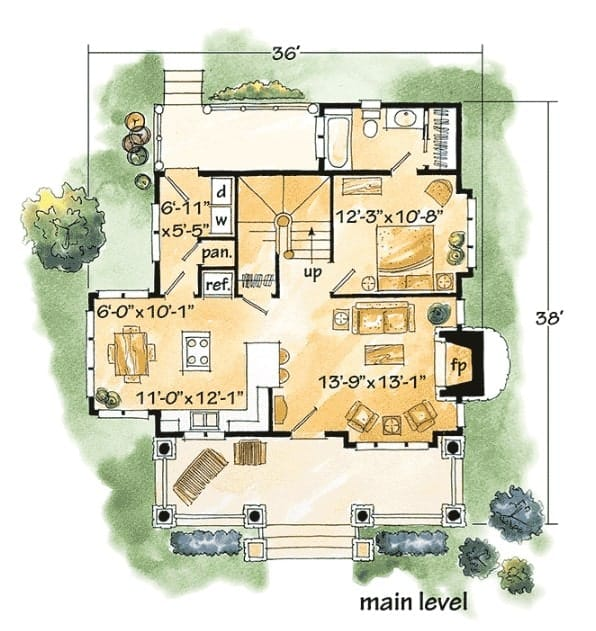 Main level floor plan of a 2-story rustic home featuring two covered porches.
