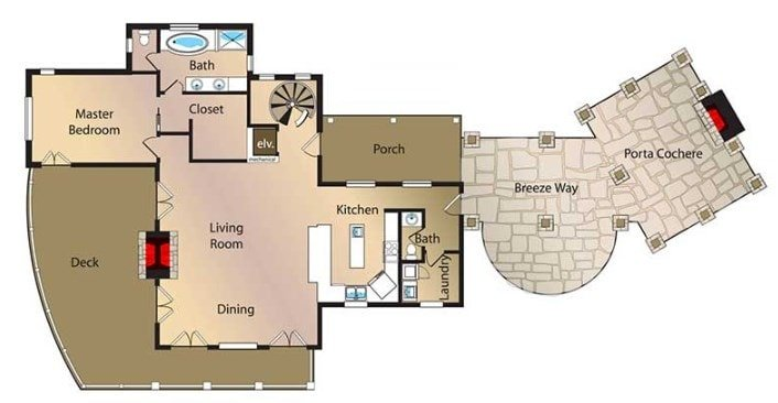 Main level floor plan of a mountain home with a spacious open layout for the living and dining areas and plenty of outdoor spaces.