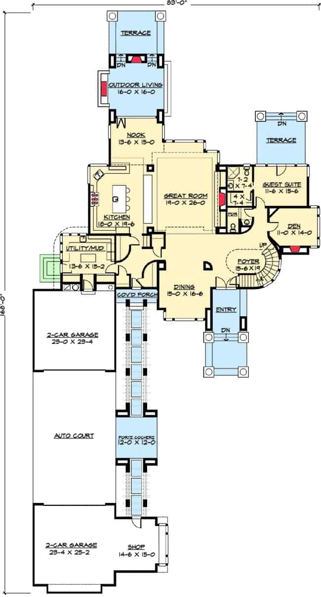 Main level floor plan of a two-story contemporary home with a great room, a guest suite and an outdoor living with a fireplace.