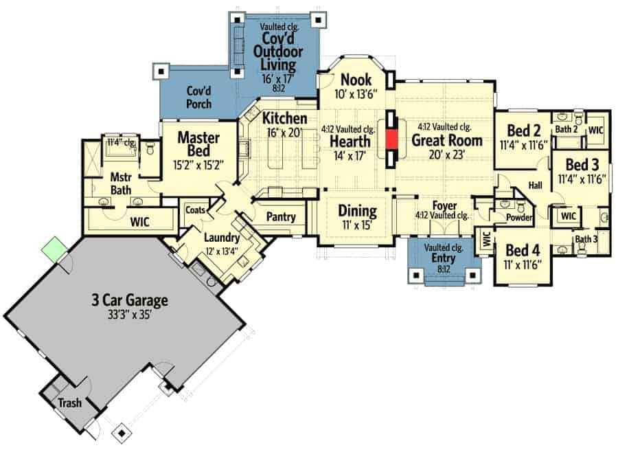 Floor plan of a single-story ranch home with 3 bedrooms, a 3-car garage, and flowing interior spaces.