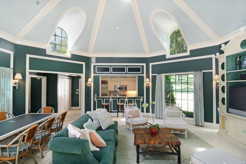 Another look at this gorgeous great room featuring its green walls and white dome ceiling that look perfect with each other. Images courtesy of Toptenrealestatedeals.com.