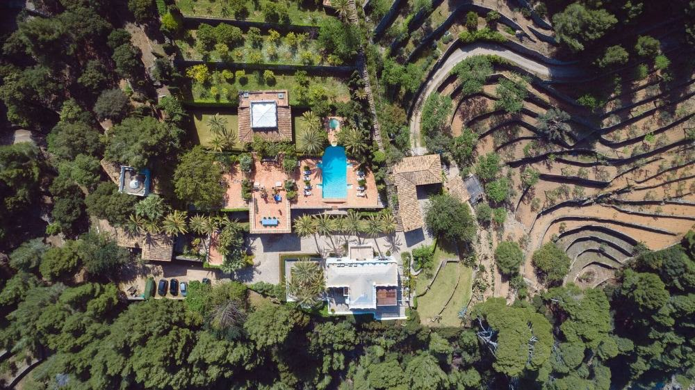 A bird's eye view of the property boasting its stunning architecture and landscaping. Images courtesy of Toptenrealestatedeals.com.