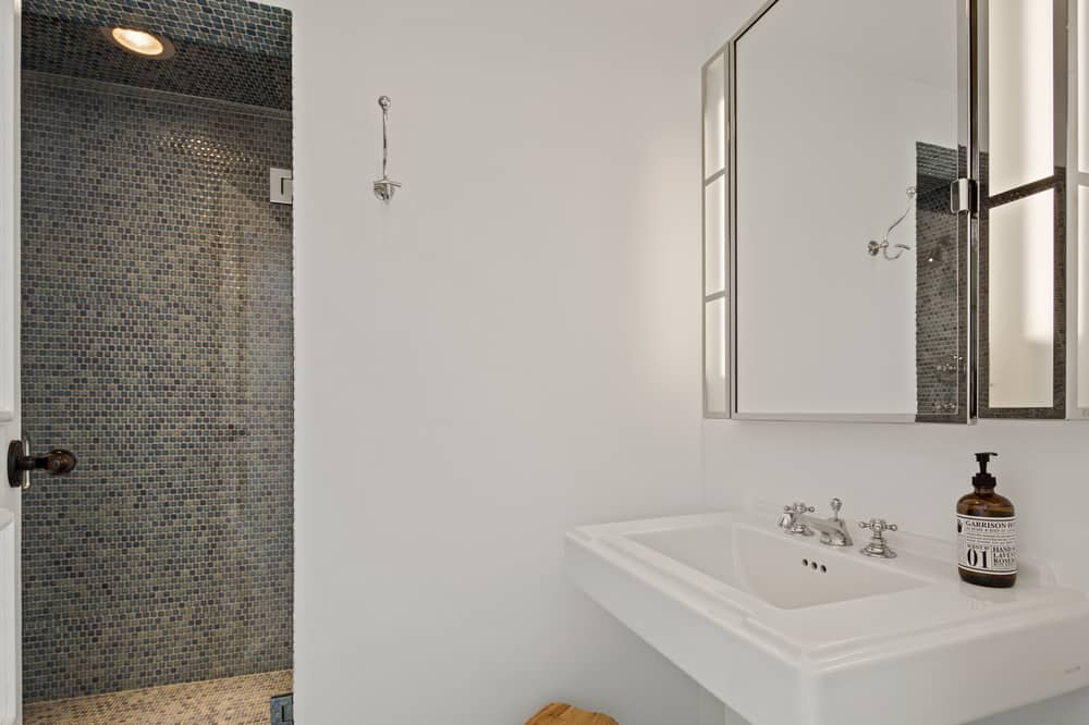 This other bathroom has a simple white pedestal porcelain sink paired with a small wall-mounted mirror next to the entrance of the walk-in shower area.