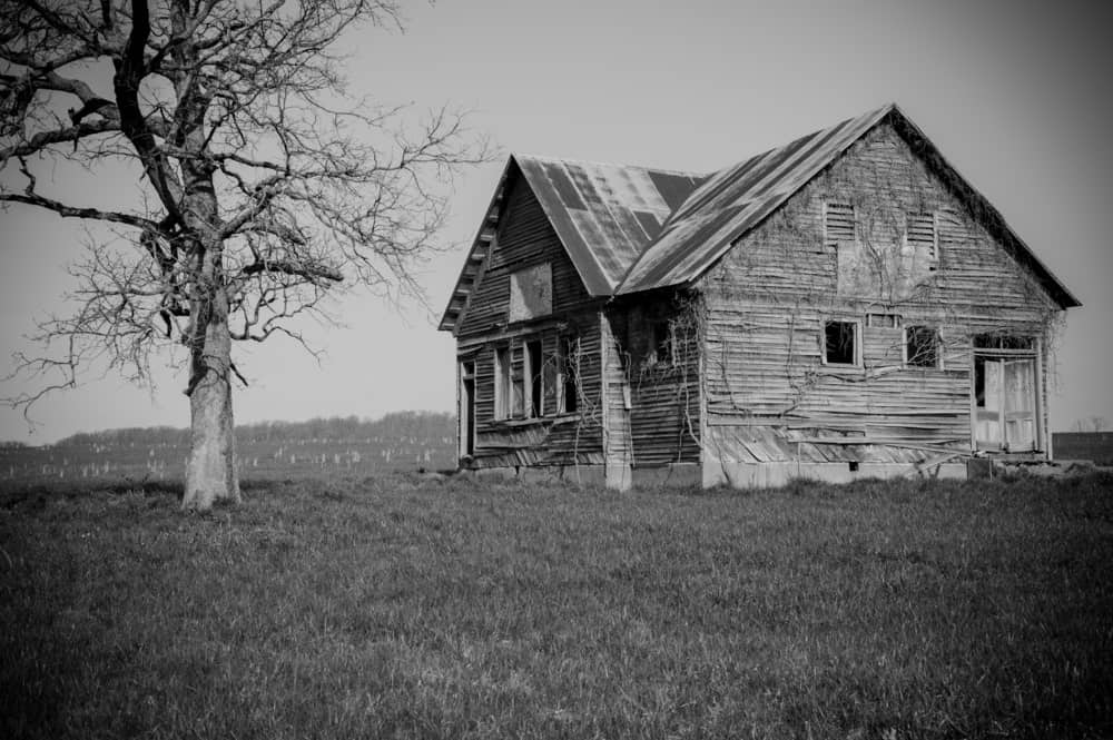 Black and white photo of an old, abandoned, decrepit farmhouse and dead tree.