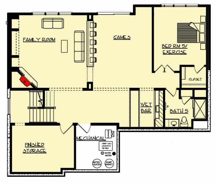 Optional finished basement floor plan of a 2-story Craftsman home including a family room, a recreation room, storage areas, and even an extra bedroom.