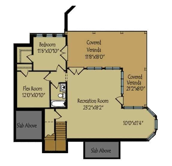 Optional finished basement floor plan of a 2-story mountain home for an additional bedroom and enough space for a recreation room, home gym, and even covered veranda.