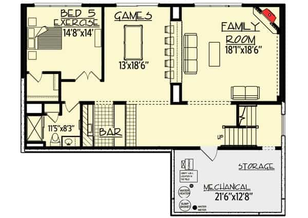 Optional finished lower level floor plan with family room, an extra bedroom and bath, and a game room with wet bar plus storage.