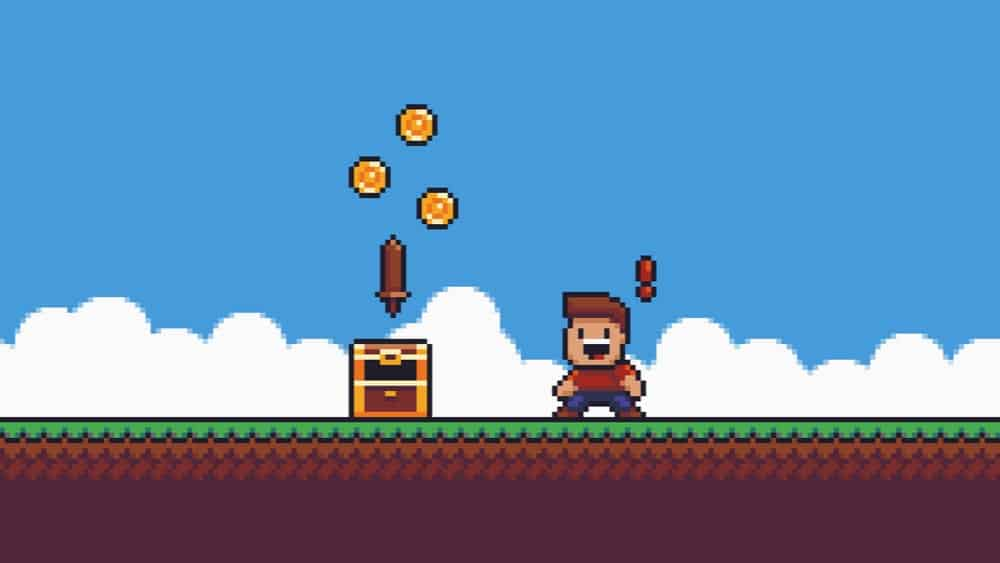 Pixel male character surprised while looking at an open chest with sword and gold coins.
