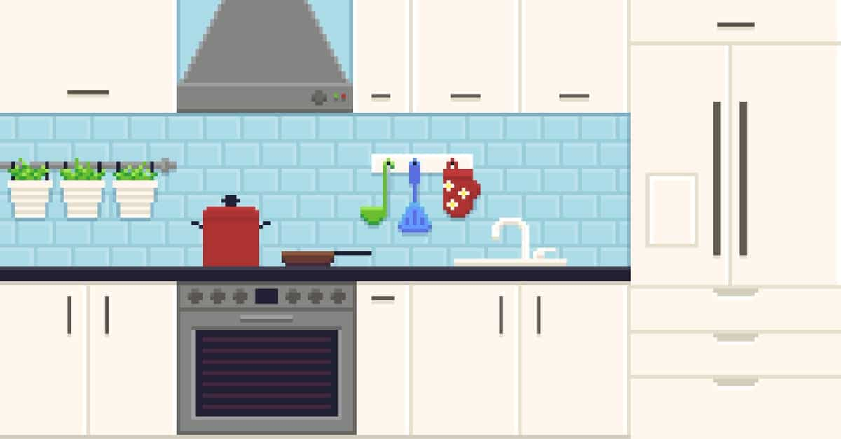 Pixel image of a kitchen interior.