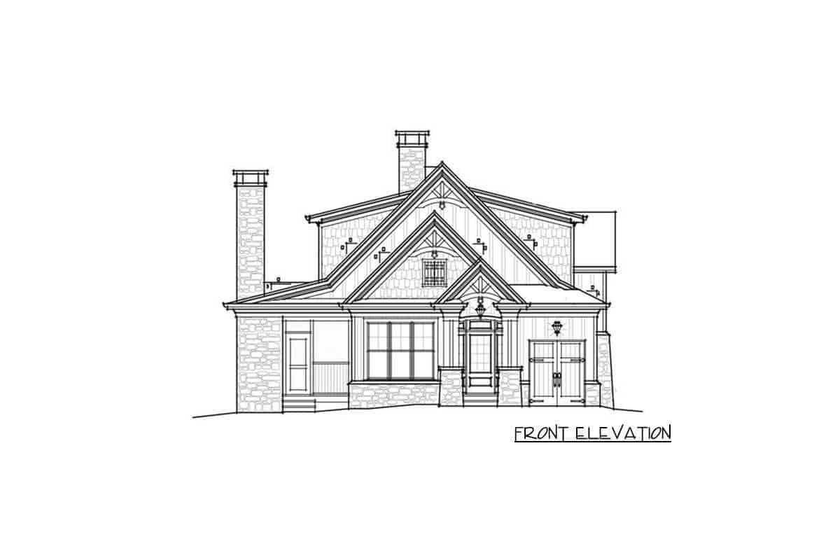 An illustrative representation of the house titled front elevation where every part of the front side is detailed into black and white.