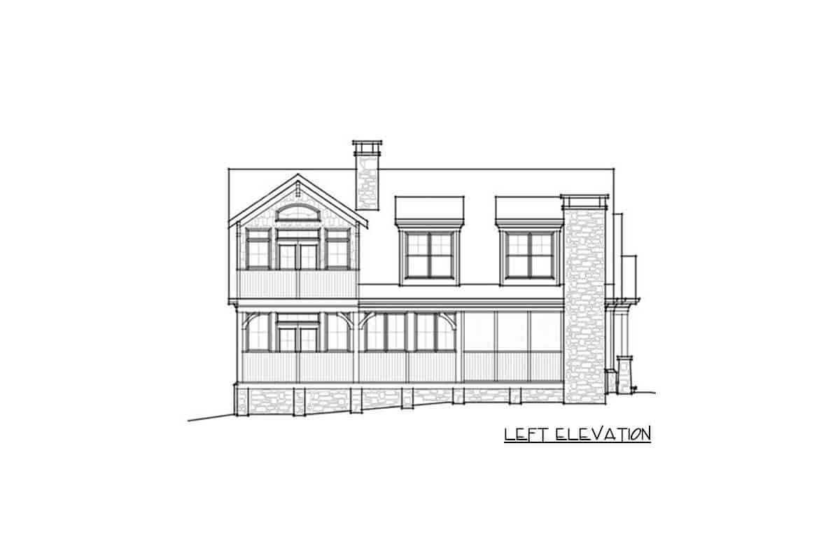 An illustrative representation of the house titled left elevation where every part of the left side is detailed into black and white.