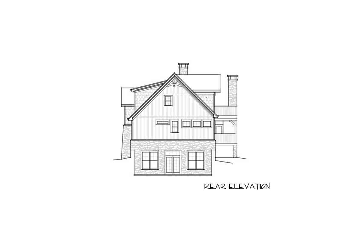 An illustrative representation of the house titled rear elevation where every part of the rear side is detailed into black and white.