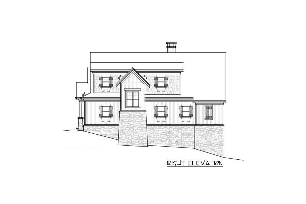 An illustrative representation of the house titled right elevation where every part of the right side is detailed into black and white.